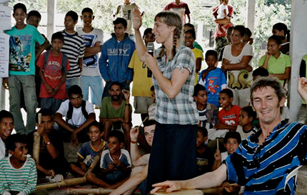 Gillian performing to children